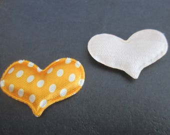 pretty fabric heart orange with white dots 39 x 30 mm