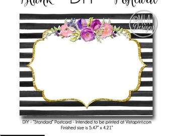 DIY Vistaprint Standard Size Postcard, Oh Carolina 2, Blank Template Instant Download - Notecard Inviation, Stationary, Party Invite