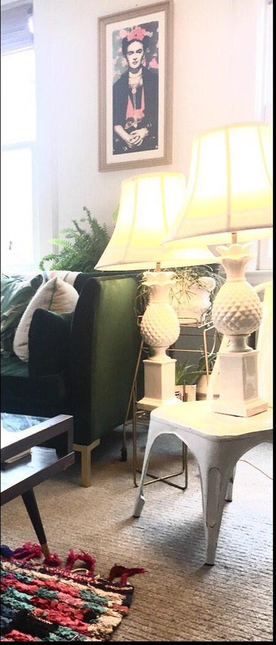 Pair of Rare Large White Sculptural Porcelain Mid-Century Pineapple Lamps - White Pineapple Lamps with White Silk Shades