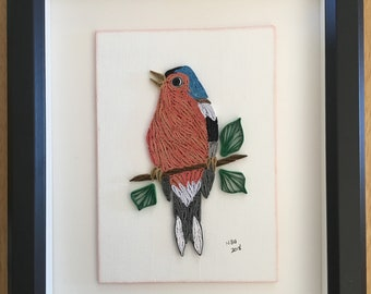 Quilled Chaffinch - Framed Bird Art