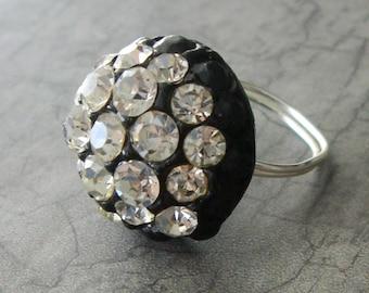 SALE Large Black Vintage Button Cocktail Ring