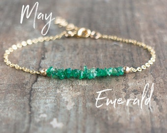 Emerald Bracelet, Gift for Mom, Gift for Wife, May Birthstone Bracelet, Emerald Jewelry, Gemstone Bracelet, Raw Stone Jewelry, Gift for Her