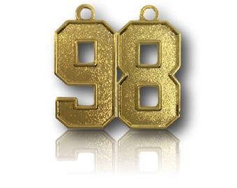 """Number 98 Jersey Style Sports Necklace Charm Pendant (0.8"""" Tall)  GOLD PLATED Football Baseball Basketball Soccer Lacrosse Hockey"""