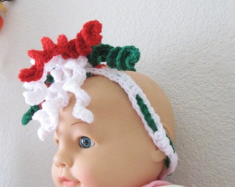 Baby or Toddler Red Green and White Christmas Corkscrew Headband Hair Accessory Ready to Ship Night and Day Crochet