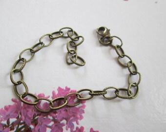 Bronze bracelet 19 cm to large maillesciselees snap closure