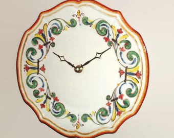 11-1/4 Inch Mediterranean Style Wall Clock, Silent Ceramic Plate Wall Clock, Kitchen Clock, Unique Wall Clock - 2362