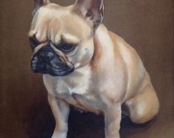 "French Bulldog Portrait on Canvas, ""Frenchie"""
