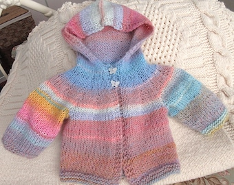Hooded Baby Girls Sweater, Size 6-12 mos./ Hand Knit, New/  Uniquely Beautiful Baby Gift- In Search of a Little Girl