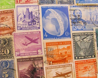 Just Chilean 50 Vintage Chilean Postage Stamps Repubublic of Chile South America Santiago Antarctica Latin American Worldwide Philately