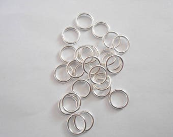 wholesale 10 jump rings open, bright silver plated, 12 mm