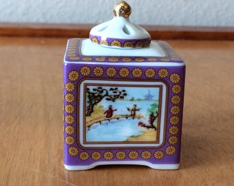 Del Prado Porcelain Pill Box Trinket Box - Asian Scene - EP 44 - Square Box Shape - From Spain