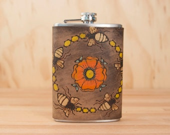 8oz Flask - Bee Line pattern in yellow, orange, coral, gold and antique black - bees and flower