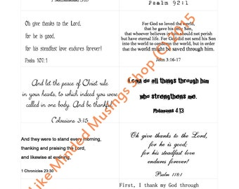 Thankfulness Bible Verse Cards Thanksgiving Cards Place Cards Digital Scripture Download Bible Memorization Christian Gift