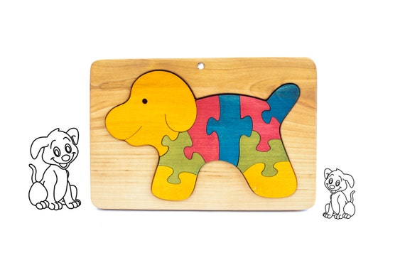 Wooden Dog Puzzle for Kids Christmas - Wooden Jigsaw Puzzle - Natural - Organic Kids Toy - Toddler Gift for Christmas - Waldorf Toy