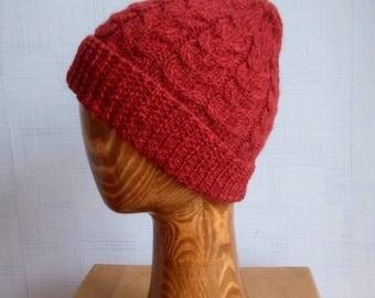 Red tweed. Winter woolen hat.