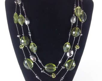 NY Brand Triple Chain Necklace Green/Gray Beads. NY Necklace. Chain Necklace. Bead Necklace.