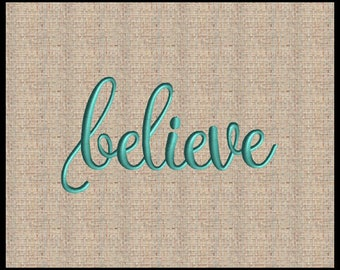 Word believe  Embroidery Design believe in Script Font Embroidery Design Script Font Embroidery Design Christmas Embroidery 6 sizes