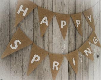 Happy Spring Banner Spring Garland Spring Bunting Spring Decor Easter Decor Burlap Banner Burlap Bunting Easter Banner Easter Garland