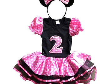 Minnie Mouse Pink Birthday Dress 2 year old + FREE Headband Girl Baby Toddler