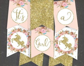baby shower banner Its a girl printable banner Unicorn baby shower blush and gold baby shower decorations baby girl banner  - shower decor