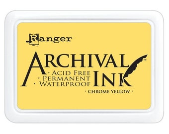 Ranger Archival Ink Chrome Yellow - Yellow Ink - Yellow Archive Ink - Ranger Yellow Ink - Permanent Yellow Ink - Waterproof Ink - 17-006