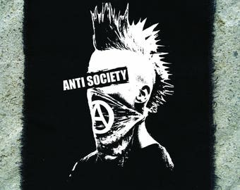 Anti society patch • punk patch • back patches • punk fashion • punk clothing • punk aufnäher • skate • punk accessories •sew on patches
