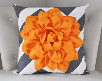 Decorative Pillows, Graphite Charcoal Pillow Cover, Zippered Pillow, Floral Pillow, Grey Cushion Cover, Orange and Gray Throw Pillow Chevron