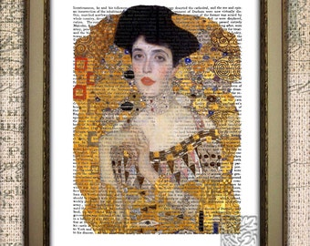 """Klimt lady in Gold Art Print Gift/ Wall hanging, picture, dictionary Art Print 8 x 10 or 12 x 16"""""""