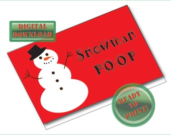 Snowman Poop Printable Treat Bags Tags Christmas Gift Tag Holiday Folding Package Card Label Red Green Party Favor Packaging Gag Gift Label