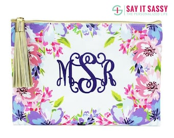 Monogrammed Floral Zipper Bag- Floral Zipper Pouch- Floral Cosmetic Bag- Large Makeup Bag- Floral Makeup Bag- Bridal Party Gifts- Canvas Bag