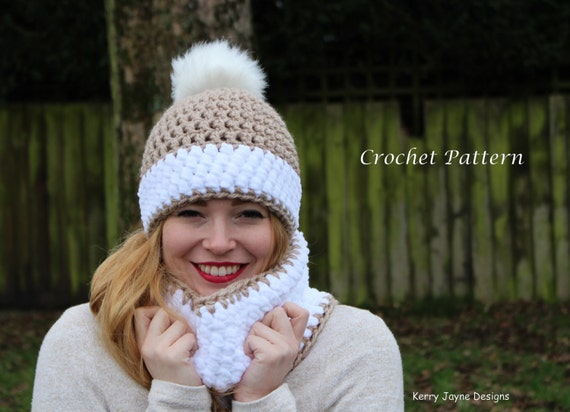 Crochet Hat And Cowl Pattern Snow Bobble Effect Crochet