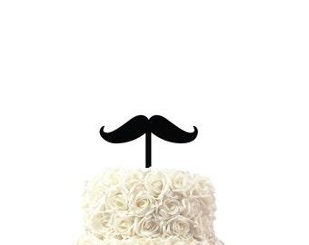 Cake topper Moustache, birthday cake topper, 30 colors available, custom made cake topper