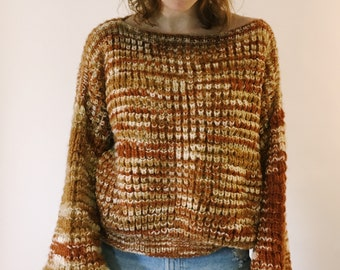 Hand Knit 70s Bubble Sleeve Sweater