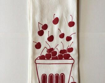 Cherry Tea Towel, Screen Printed Flour Sack Towel