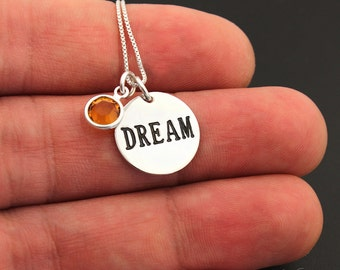 Sterling silver 925 Dream Medal charm necklace pendant with Birthstone and 925 box Chain (N115)