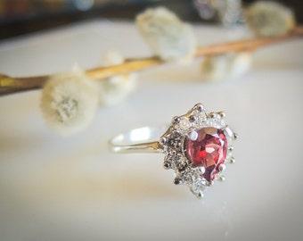 14K Solid Gold Garnet Engagement Ring Gold Garnet Ring Rhodolite Garnet Halo Engagement Ring Halo Ring Red Garnet White Sapphire Ring