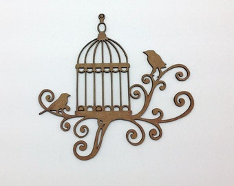 Chipboard Scroll Birdcage