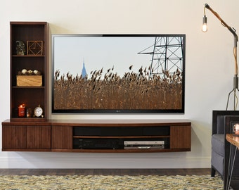 Wall Mount TV Console- Curve Mocha- 2 Piece + Bookcase