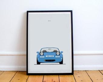 Mazda MX5/Miata/Eunos Print - Custom Reg / Colour available - Digital Art Illustrated in the UK