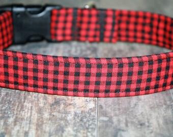 """Dog Collar, Dog Collars, Boy Dog Collar, Girl Dog Collar, Male Dog Collar, Plaid Dog Collar, Buffalo Plaid Dog Collar, """"The Bennett in Red"""""""