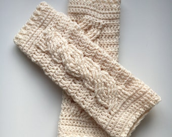 Handmade Crochet Cable Wrist Warmers