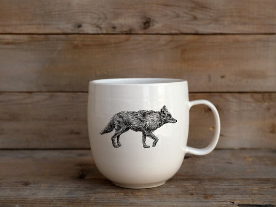 Handmade Porcelain coffee mug with coyote drawing Canadian Wildlife collection