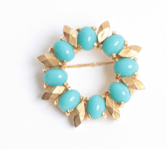 Simulated Turquoise Circle Pin Gold Tone Accents Designer Signed D'Orlan Vintage