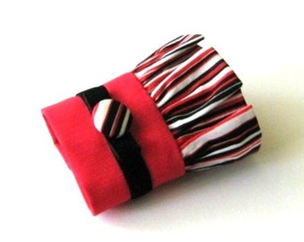 Black and red fabric cuff, red, black and white stripe fabric bracelet, black velvet ribbon with covered button wristlet cuff