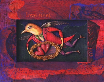 Love Nest: Anniversary art print. Flying bird man dressed in red, snuggling heart nest, anatomical engravings. Fantasy bird art, valentine