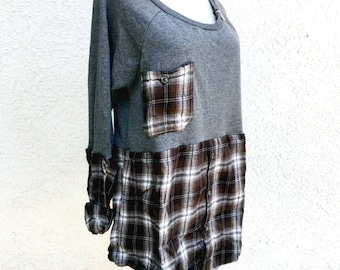 Sweatshirt x flannel plaid cozy cotton shirt top tunic fall chunky warm soft boho gypsy upcycled ecofriendly long sleeve gray brown grey