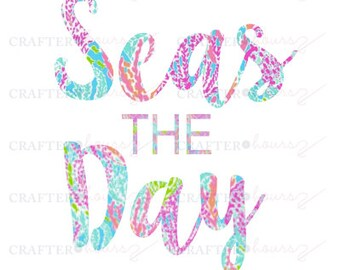 Seas the Day Decal in Preppy Print - Great for computers, waterbottles, planners and more!