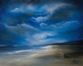 Tregantle, oil painting, oils on canvas, wall art, original oil painting, seascape, seascape painting, landscape, landscape painting,