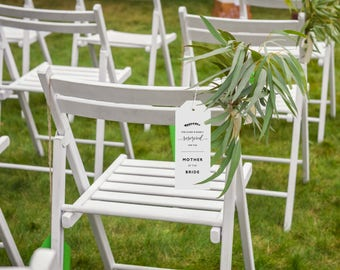 Reserved Wedding Ceremony Seating Tag, Reserved Chair Tags, Wedding Ceremony Reserved Seat Sign, Wedding Chair Tag Template - KPC08_406