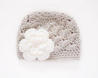 Newborn Girl Hat / Crochet Baby Hat / Girls Beanie / Girls Winter Hat / Baby Shower Gift Girl / Baby Girl Hat / Hats For Girls / Girls Hat